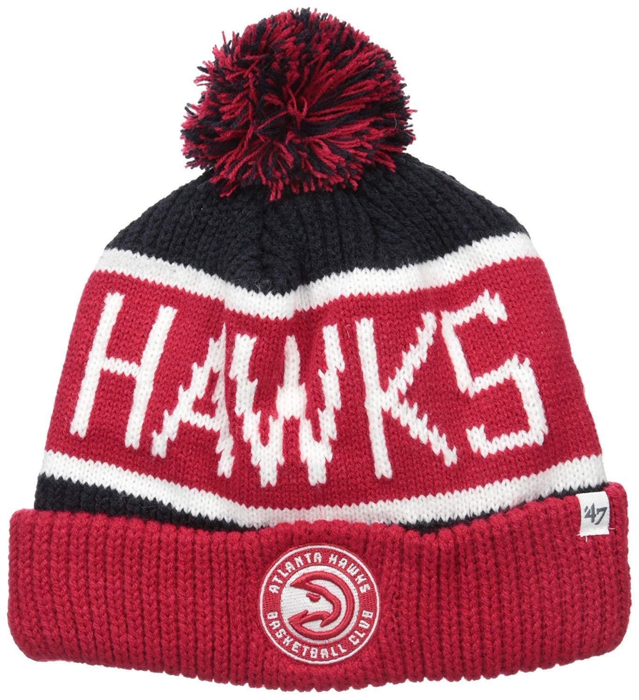 '47 Atlanta Hawks Red Cuff Calgary Beanie Hat with Pom - NBA Throwback Cuffed Winter Knit Toque Cap