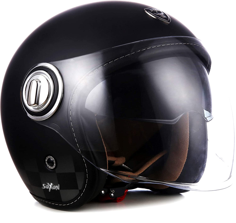 Soxon SP-888 Mono Motorcycle Jet Helmet Vespa Scooter Pilot Cafe Racer with Sun Visor & Long Visor, Allrounder