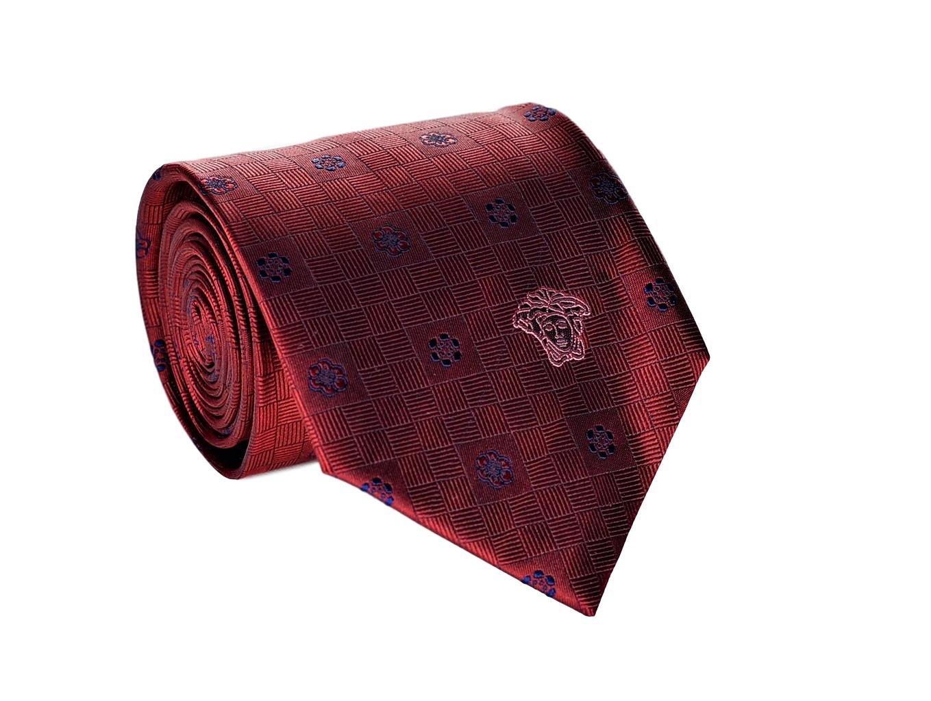 Versace Men's Geometrical Patterned Disty Print Silk Necktie Red