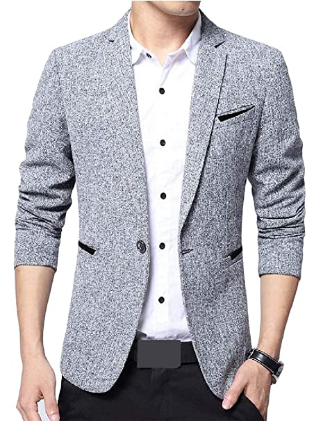 Pcutrone Men Lapel Neck One Button Basic Burnout Coat Sports Blazer Jacket