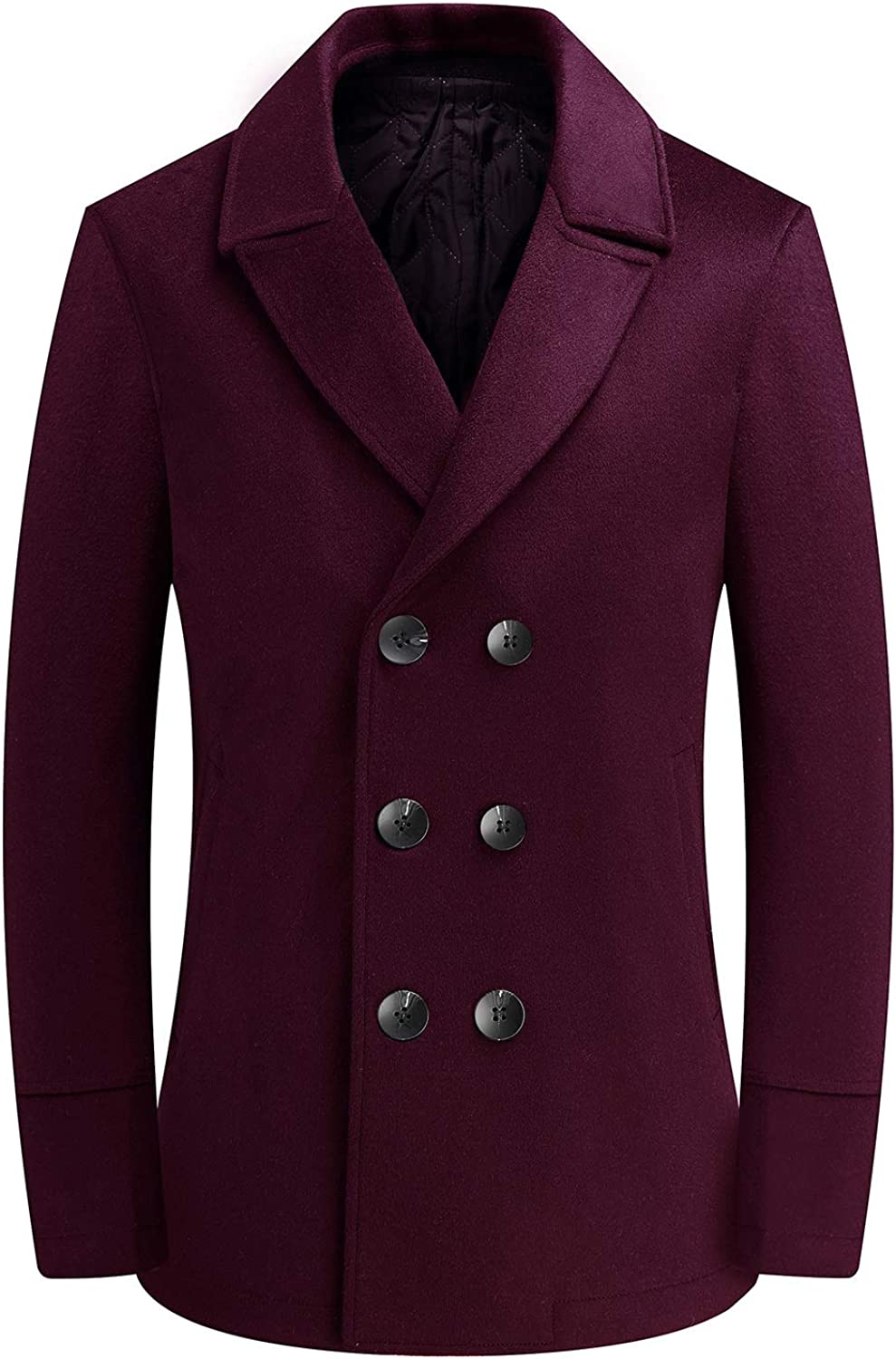 Yingqible Mens Double Breasted Pea Wool Coat Vintage Navy Jacket Padded Lined Reefer Warm Winter Overcoat