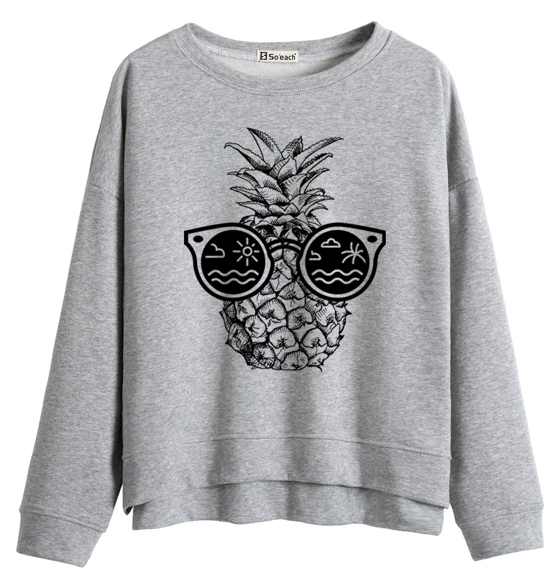 So'each Women Jumper Sweatshirt Sunglasses Pineapple Graphic Words Print Grey