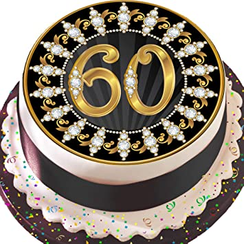 PRECUT Edible Decoration Icing Sheet 75 INCH Round Cake Topper Black And Gold 60TH Birthday Z09