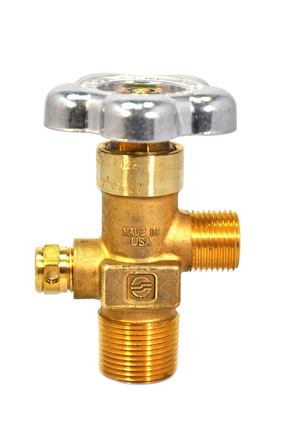 Sherwood Global Brass Valve With Cga 326 4000 Psi Pressure Relief Device 3/4 Ngt+7 Tapered Thread Gv O-Ring (Gv32661-38-7)