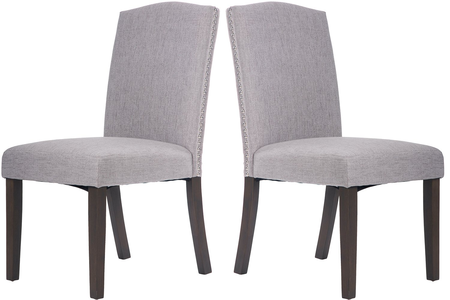 Amazon.com   Merax Fabric Dining Chairs Set Of 2 With Solid Wood Legs Dining  Room Furniture With Nailed Trim (Grey)   Chairs