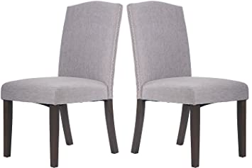 Merax Fabric Dining Chairs Set Of 2 With Solid Wood Legs Dining Room  Furniture With Nailed