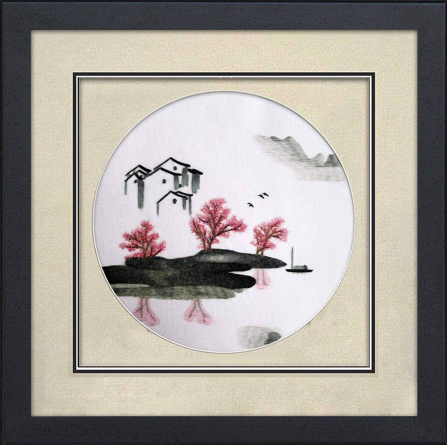 King Silk Art 100% Handmade Framed Landscape Embroidery of Lake Tree Boat & House Chinese Painting Gift Oriental Asian Wall Art Décor Artwork Hanging Picture Gallery