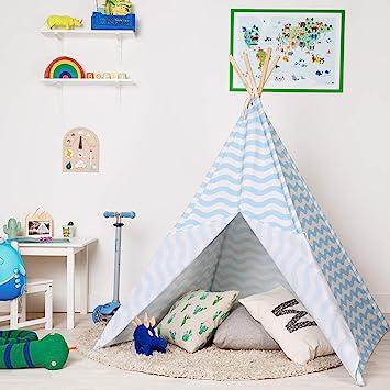 boppi Tipi Tienda Infantil Grande De Juego para Jardin O Interior De Madera Y Lona- Azul: Amazon.es: Juguetes y juegos