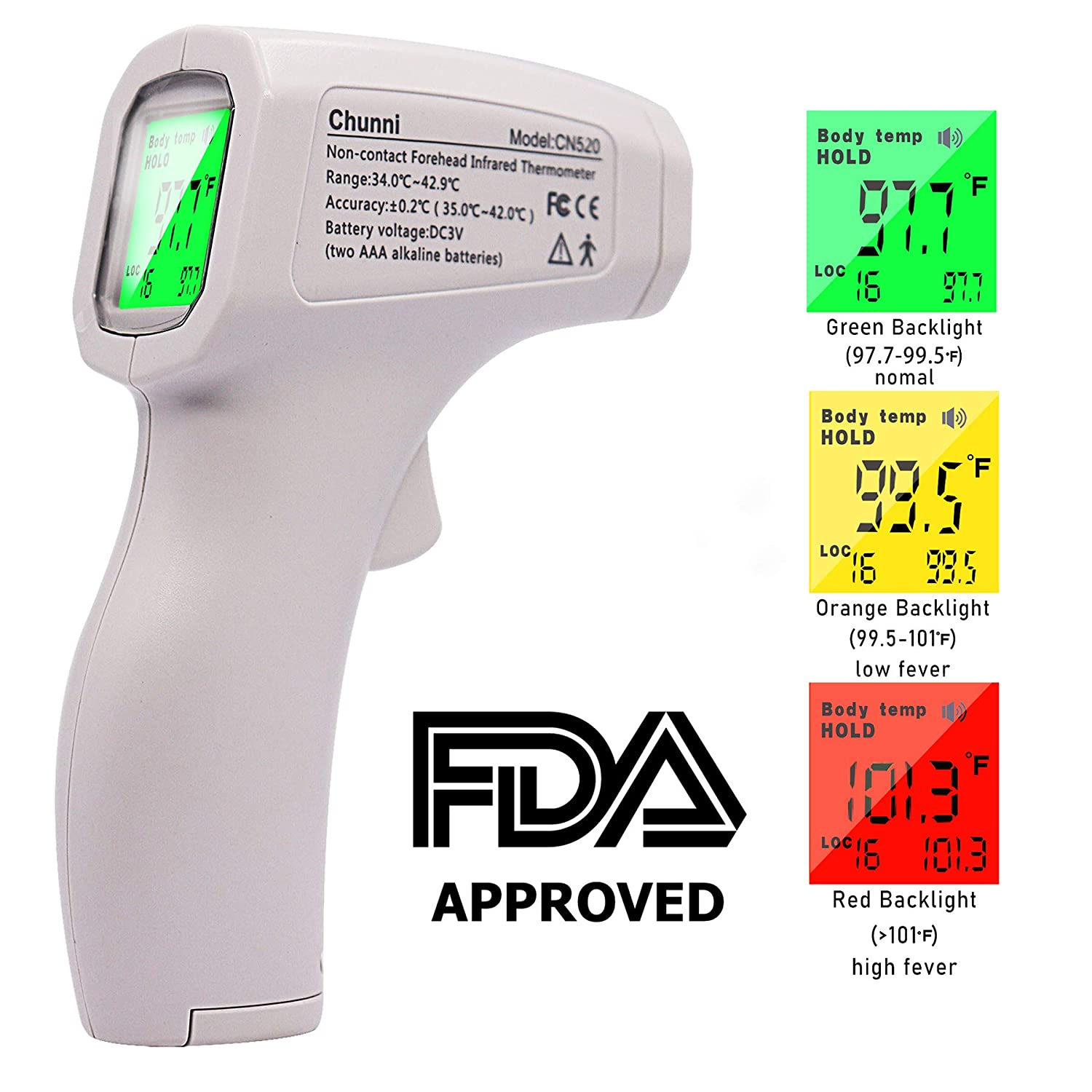 FiGoal Forehead Thermometer Non-Contact Infrared Digital Thermometer with Fever Alert Function for Baby Adults and Surface of Object Digital Medical Infrared Thermometer Instant Results 1 Pack