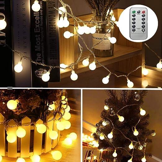 Guirnalda de luces Dricar Globe, funciona con pilas, 100 luces LED de hadas con mando a distancia para interior exterior, dormitorio, jardín, luces decorativas de Navidad (blanco cálido): Amazon.es: Iluminación