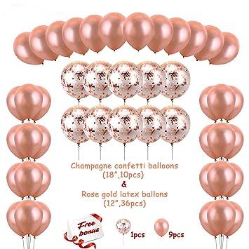 Konsait Latex Luftballon In Rosegold Und Konfetti Luftballons