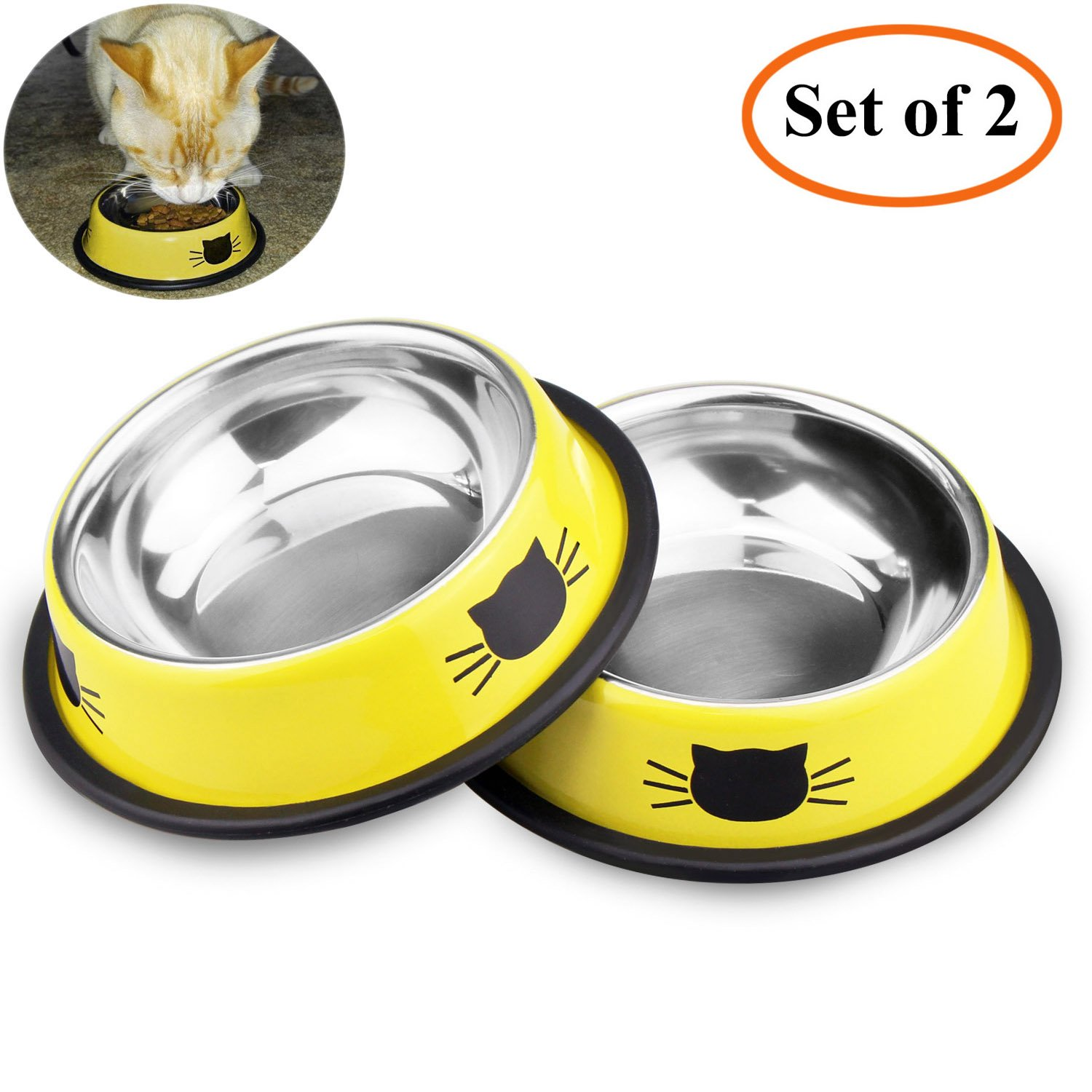 Comsmart Stainless Steel Pet Cat Bowl Kitten Puppy Dish Bowl with Cute Cats Painted Non-Skid for Small Dogs Cats Animals (Set of 2) (Yellow/Yellow) by Comsmart (Image #1)