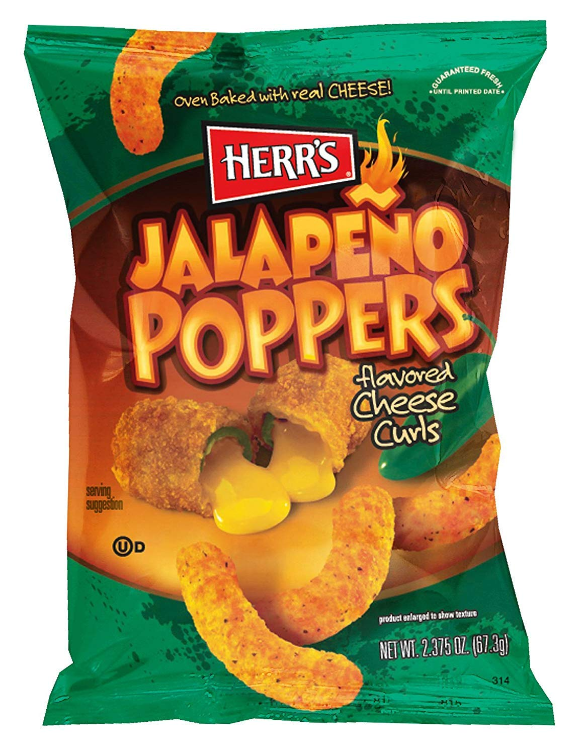 Herr's Jalapeno Cheese Curls, 2.375 Ounce (Pack of 20) (Pack of 60) by Herr's (Image #1)