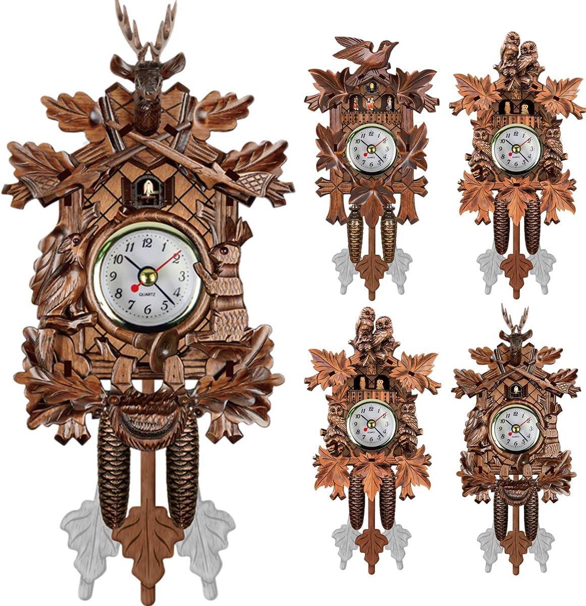 jskjlkl2019 Art Vintage Handcraft Wood Cuckoo Clock House Tree Style Wall Clock Home Decor