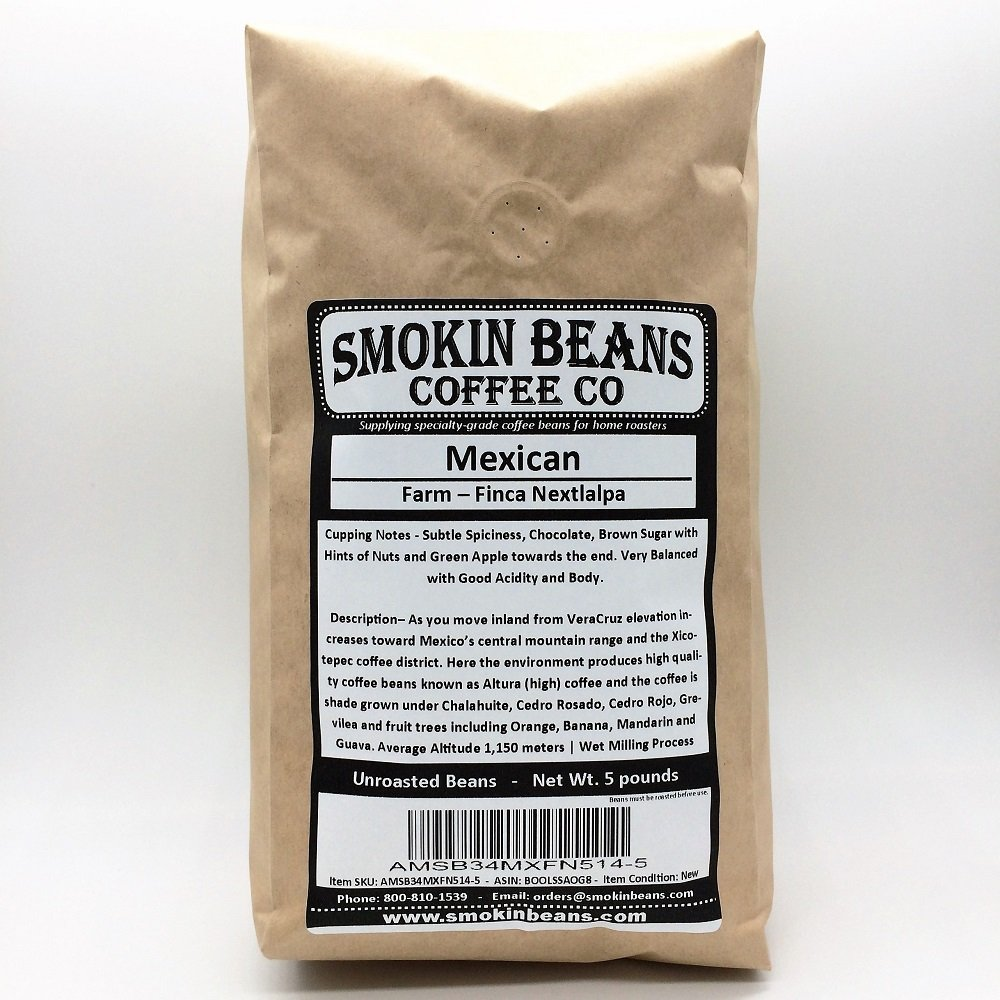 25 pounds| Mexican| Farm: Finca Nextlalpa| Grade-Altura| Spice,Chocolate,BrownSugar,Nuts/Apple| Specialty-Grade Green Unroasted Whole Coffee Beans|for Home Coffee Roasters|by Smokin' Beans Coffee Co