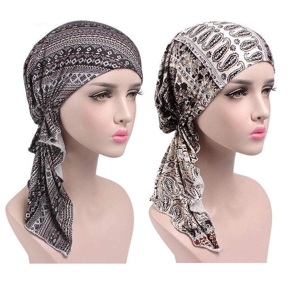 EINSKEY Turbante chemioterapia, 2PCS Turbante donna sciarpe testa confortevole per Make-up, Sonno, Perdita dei capelli, Cancro, Chemioterapia 2 Pack Head scarves - Thin
