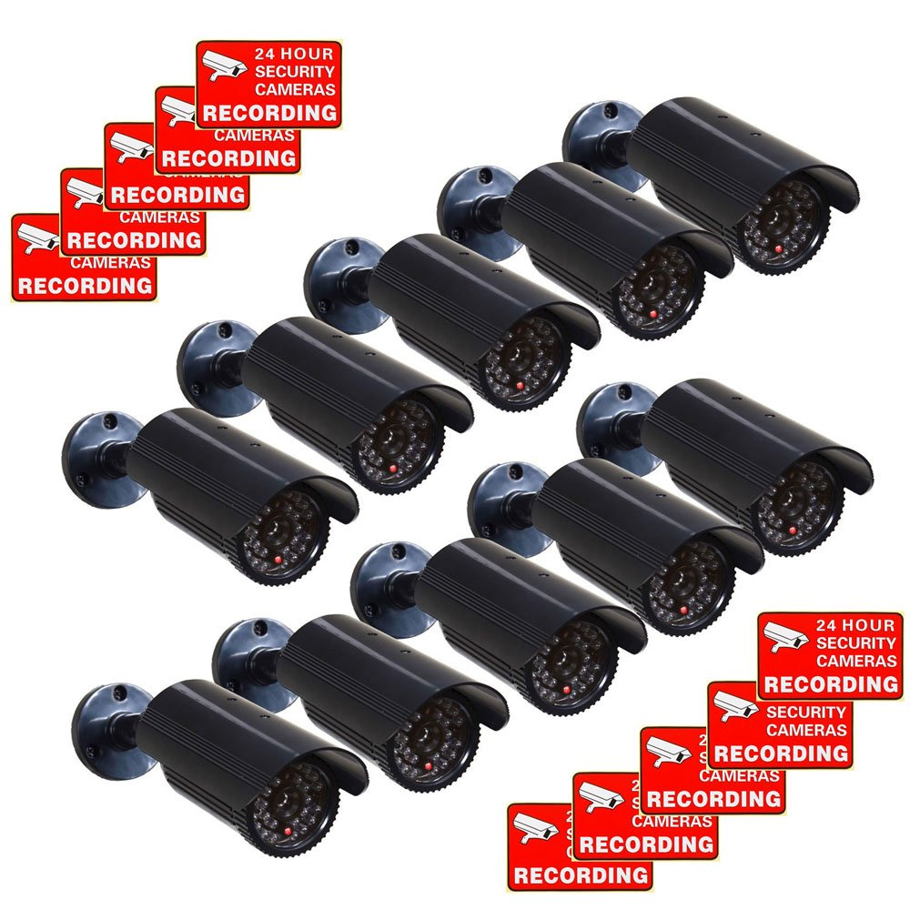 VideoSecu CCTV Fake Security Cameras Dummy IR Infrared LED Light Fake Bullet Surveillance Camera 10 Pack with Free Warning Decals CNF by VideoSecu