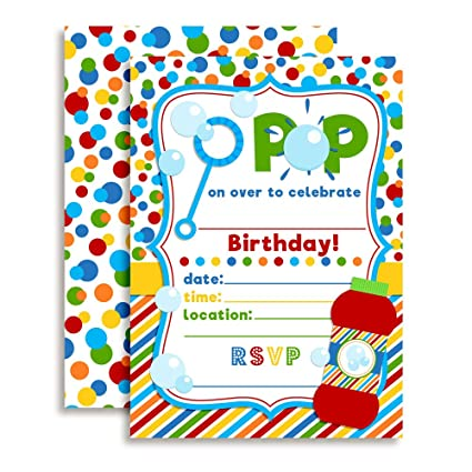 Amazon bubble birthday party invitations ten 5x7 fill in bubble birthday party invitations ten 5quotx7quot fill in cards with 10 white filmwisefo