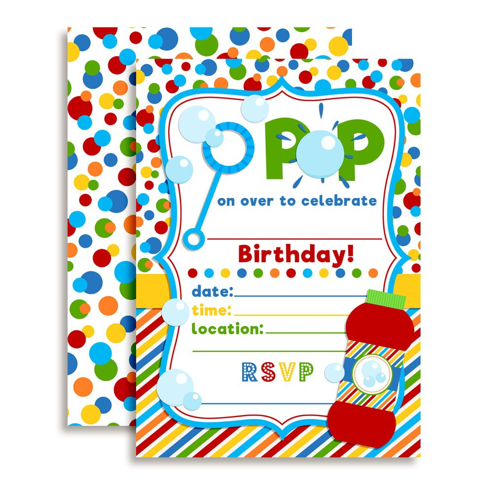 Bubble Birthday Party Invitations, Ten 5''x7'' Fill In Cards with 10 White Envelopes by AmandaCreation by Amanda Creation