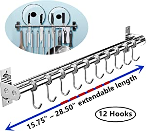 "EINFAGOOD Kitchen Hooks Rack Wall Mount with Double Pole Shelf, Cute Kitchen Utensils Organizer as Knife Block or Holder, Polished Stainless Steel (15"" - 28.50"" with 12 Hooks)"