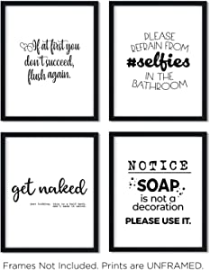Funny Bathroom Art Prints (Unframed) Wall Art | Great Gift Set of 4 Quotes | Eleven Sets Available | Set 10