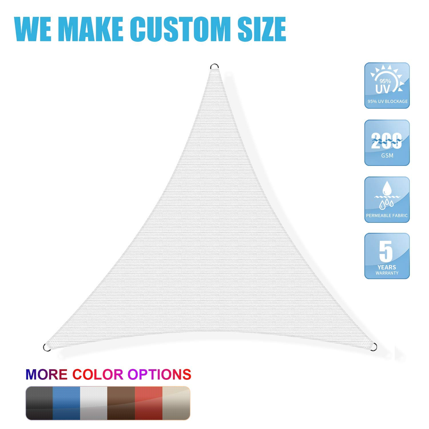Amgo Custom Size Right Triangle 12 x 16 x 20 White Triangle Sun Shade Sail Canopy Awning, 95 UV Blockage, Water Air Permeable, Commercial and Residential Available for Custom Sizes