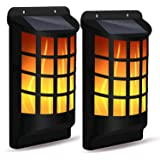 Solar Flame Lights Outdoor, Waterproof Flickering Flame Wall Lights with Dark Sensor Auto On/Off 66 LED Solar Powered…