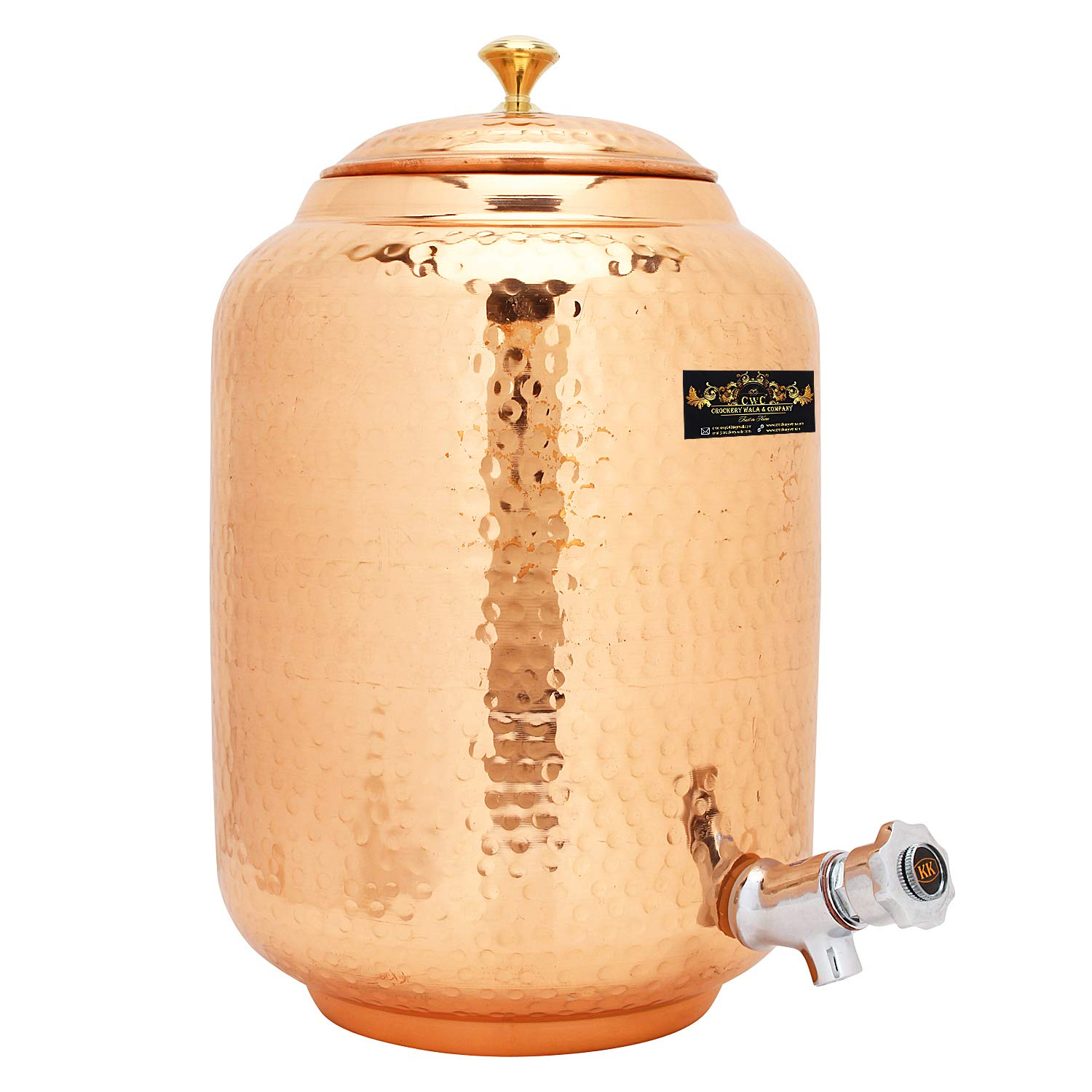 CROCKERY WALA AND COMPANY Standard Copper Water Pot, 16 Ltrs, Brown