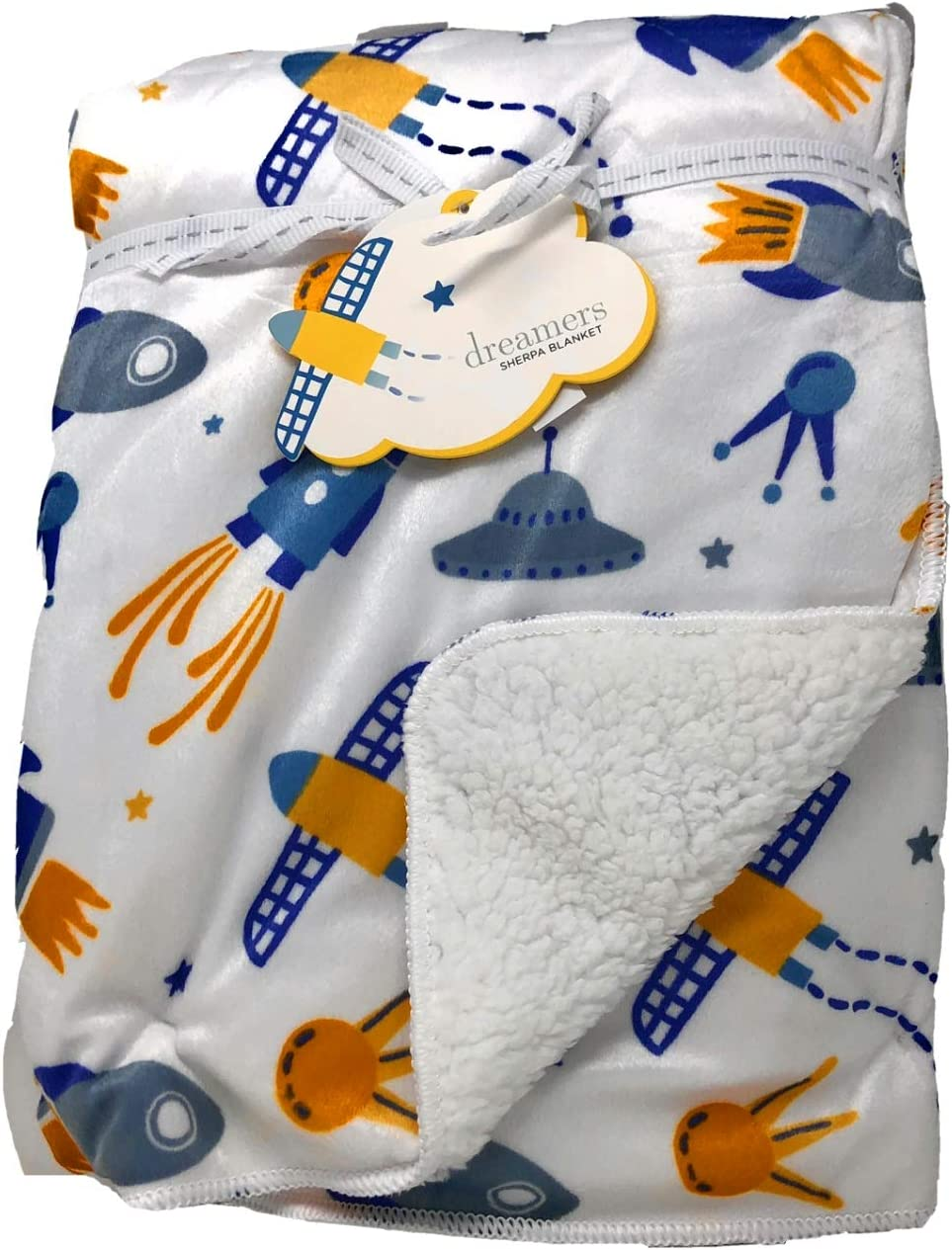 Dreamers Blast Off Space Ships, Rockets, Stars, Asteroids Plush Sherpa Baby Blanket   30W X 40L in