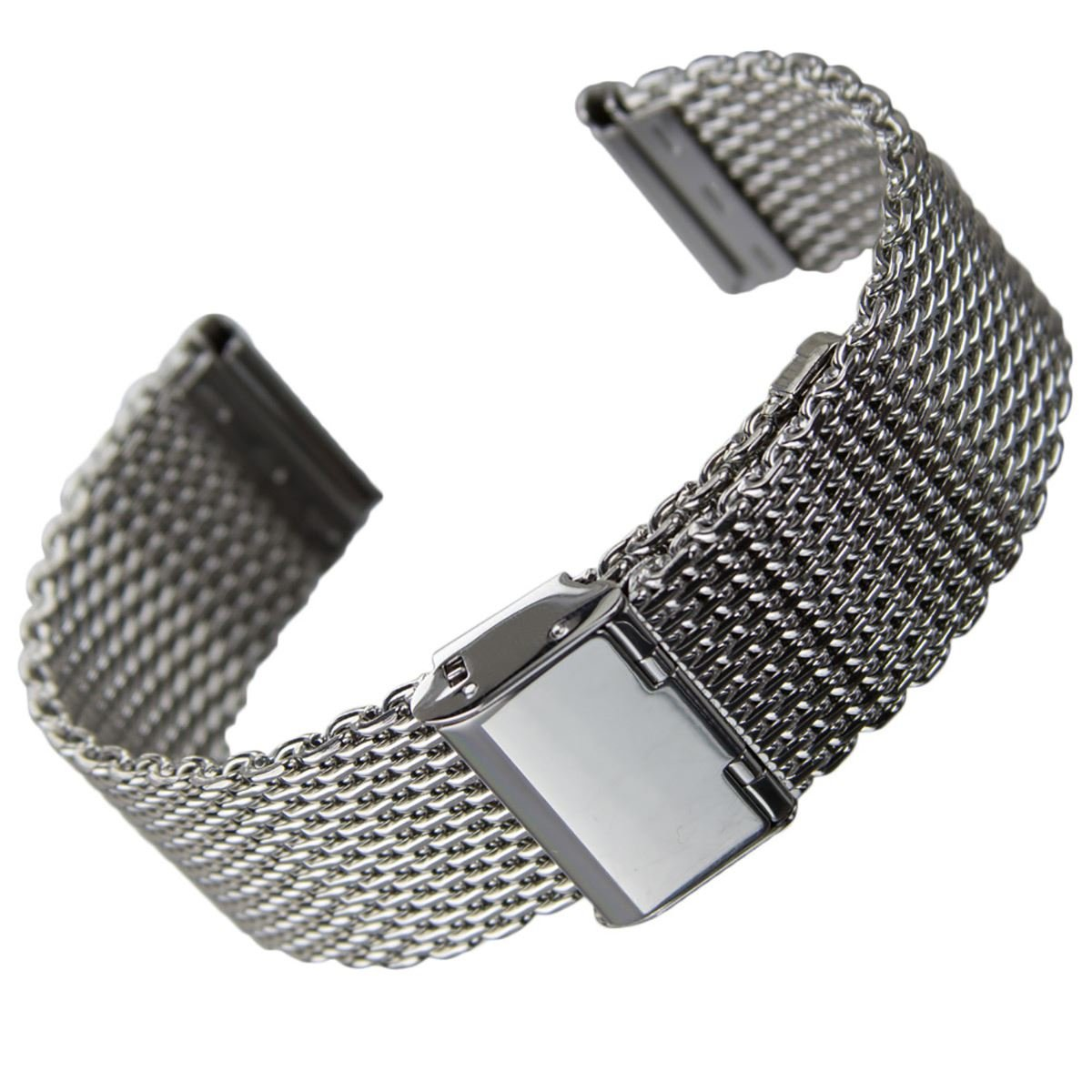 Stainless Steel Tapered Mesh Watch Strap [Polished, 19mm]