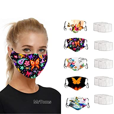Imagen deMrTom 5PCS Mujer Bonitas con 10 Filtro Mariposas Tela de Reutilizables Lavables con Filtro (A)
