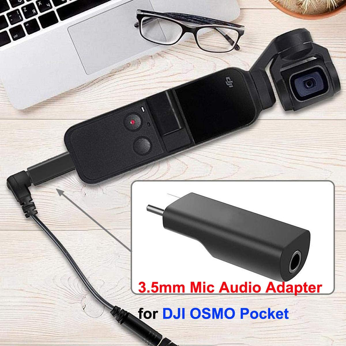 Haoun Type C USB-C to 3.5mm Mic Microphone Adapter Compatible with DJI OSMO Pocket Accessories Supports External Microphone