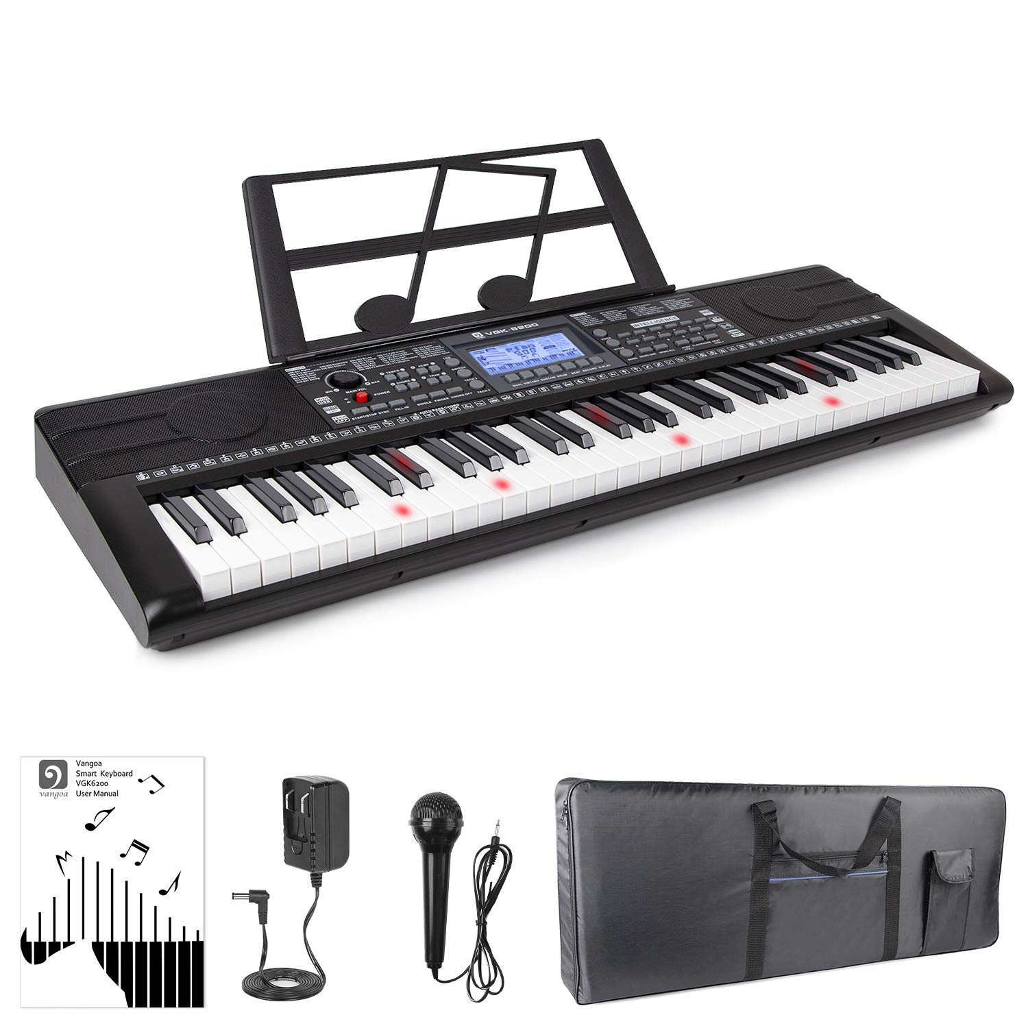 Vangoa Vangoa VGK6200 61 Lighted Keys Electronic Piano Keyboard with LCD Display, Piano Gig Bag