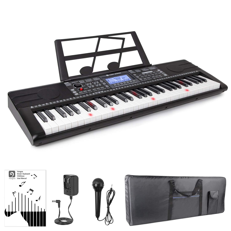 Electronic Piano Keyboard, 61 Light up Keys Portable with Smart LCD Display, 3 Teaching Mode, 40 Demo Songs, Piano Gig Bag by Vangoa