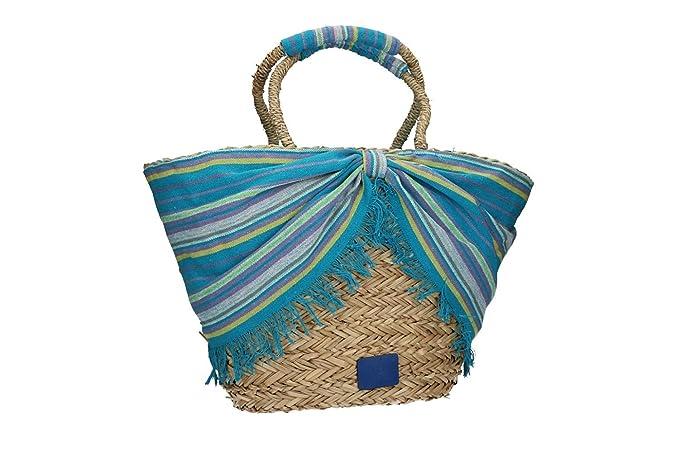 ce5009ef17 RB JEANS Borsa mare piscina donna azzurro a spalla da spiaggia in paglia  VV213: Amazon.it: Abbigliamento