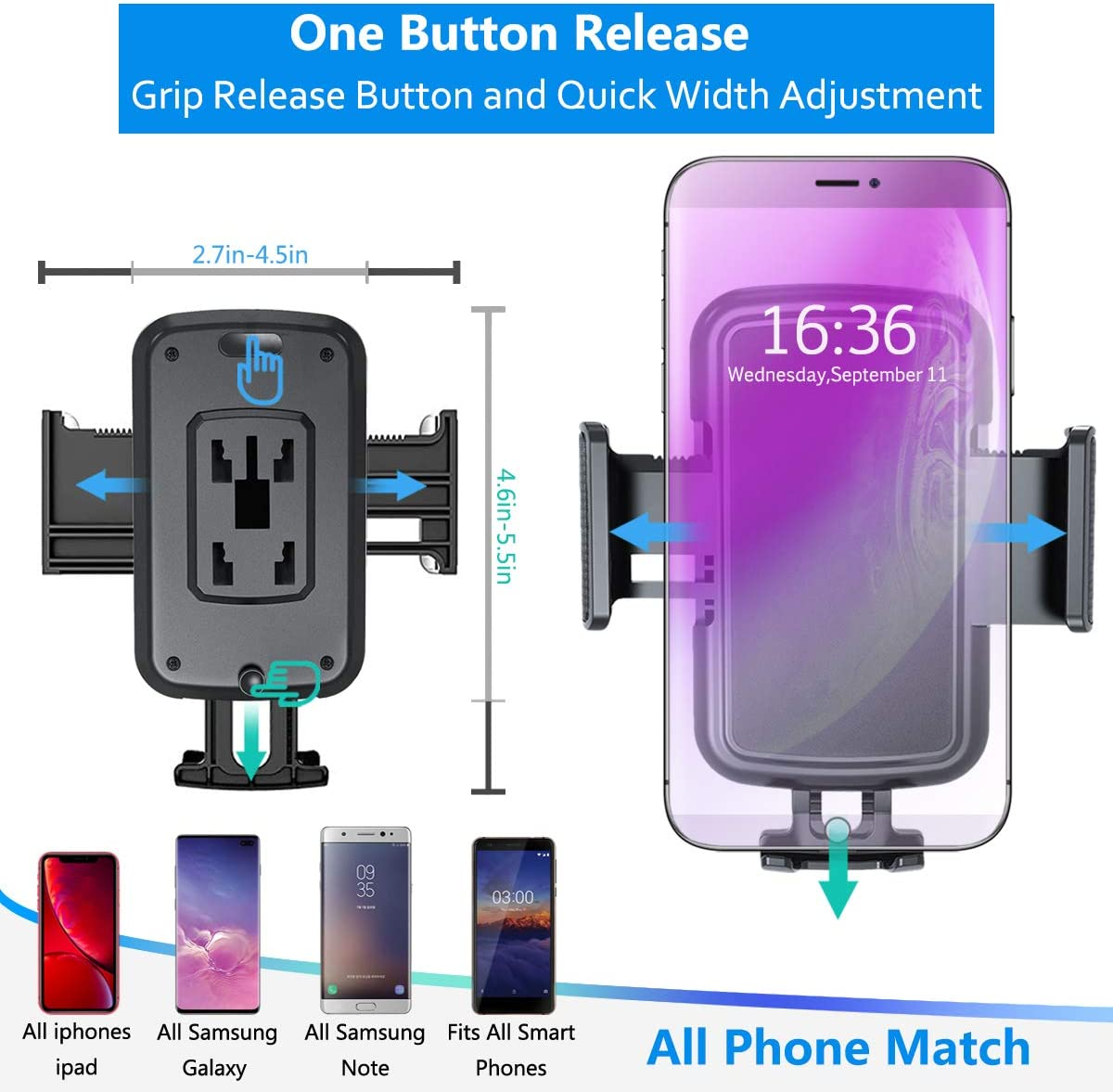 Mikikin Cell Phone Holder Universal Adjustable Cup Holder Cradle Car Mount with Flexible Long Neck for iPhone 11 Pro//XR//XS Max//X//8//7 Plus//Samsung S10+//Note 9//S8 Plus//S7 Edg Car Cup Holder Phone Mount