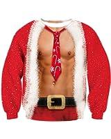 BFUSTYLE 3D Sweatshirt à col ras du cou imprimé, Womens Christmas Pullover à manches longues à motifs Sweatshirts Pulls