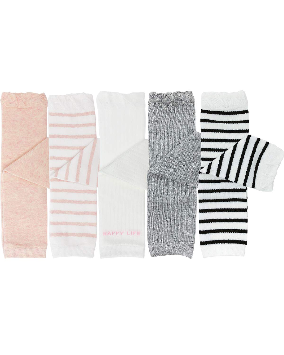 ALLYDREW Pastel Baby & Toddler Leg Warmers (Set of 5), Pink & Gray by allydrew