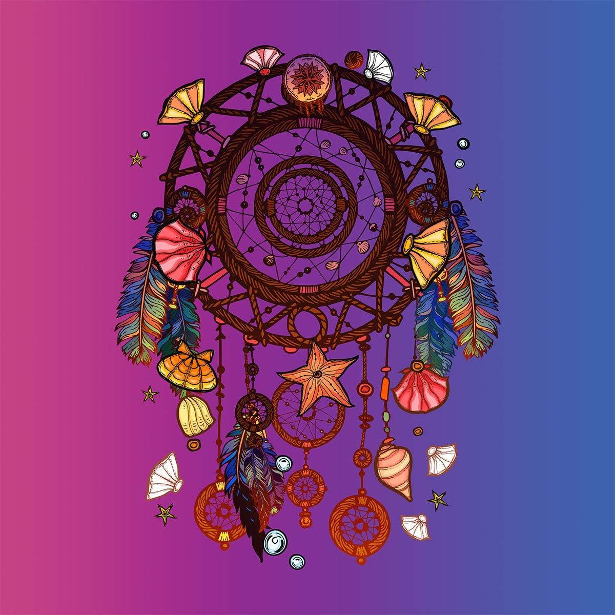 Erosebridal Bohemian Comforter Set Twin Size Dream Catcher Bedding Set Colorful Feather and Floral Printed on Black Duvet Cover Set,Starry Sky Theme Soft Microfiber Quilt Set for Girls Women