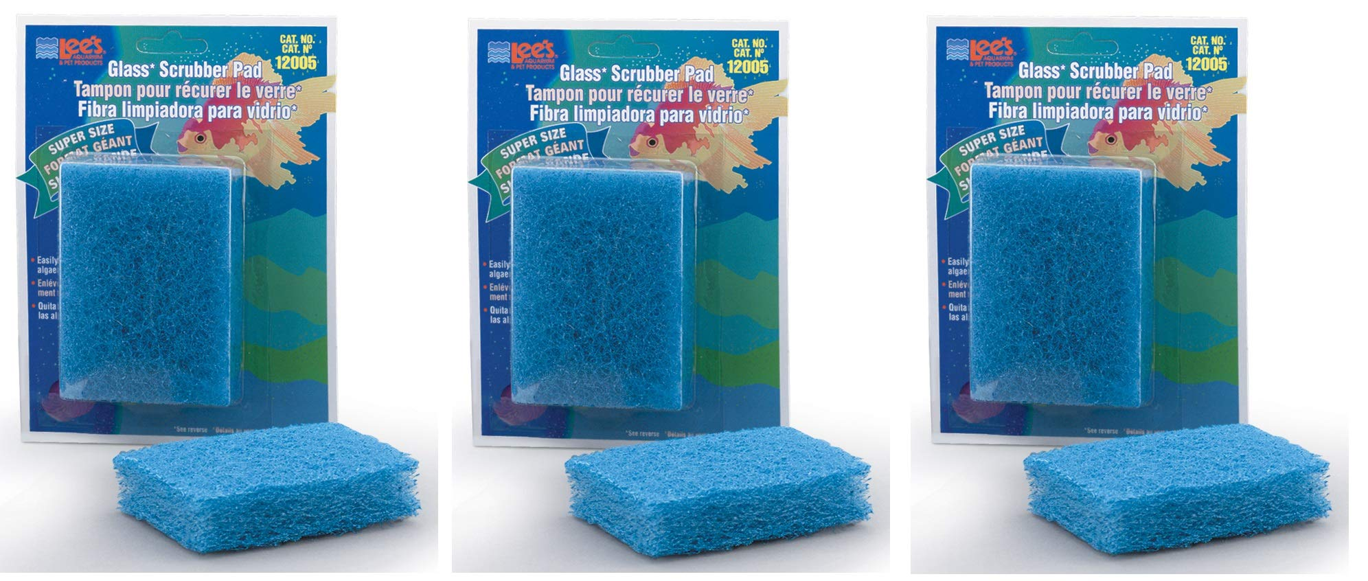 Scrubber Pad for Glass Aquariums [Set of 3] Size: Super (4'' H x 3'' W x 1'' D) by Lee's Pet Products
