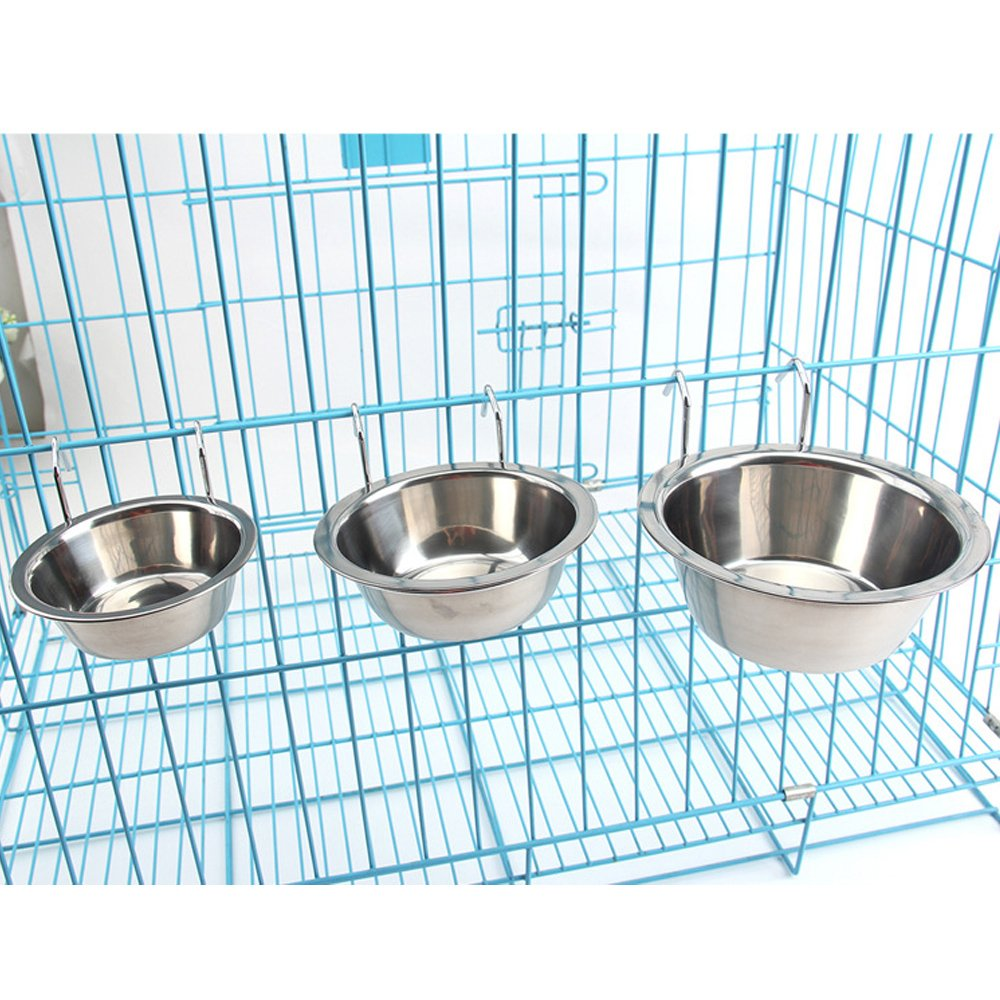AceZone 2PCS Stainless Steel Hanging Dog Bowl Food Water Feeder with Hanger for Dogs Cats Rabbits Bunny in Crate Cage Kennel Manker Trading