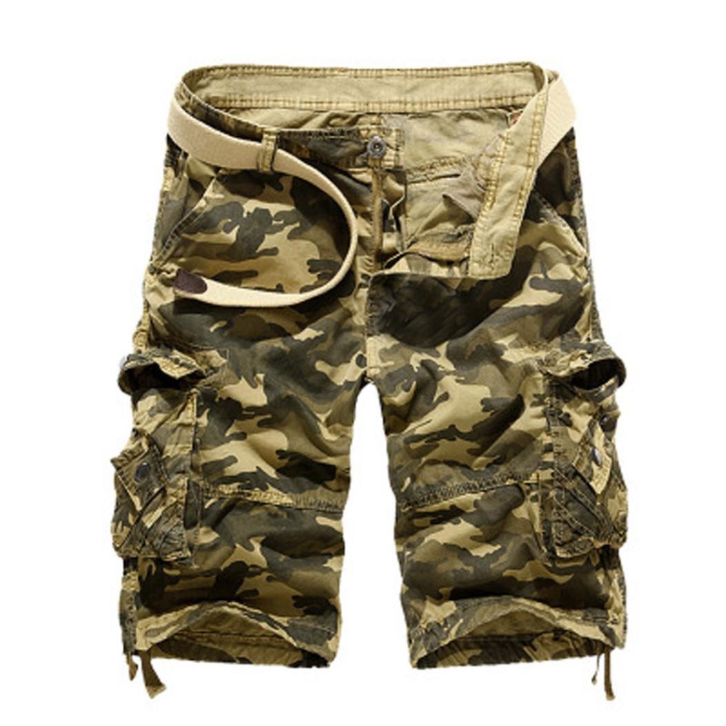 Fashion Mens,PASATO Casual PantsPocket Beach Work Casual Short Trouser Shorts (Khaki,36)