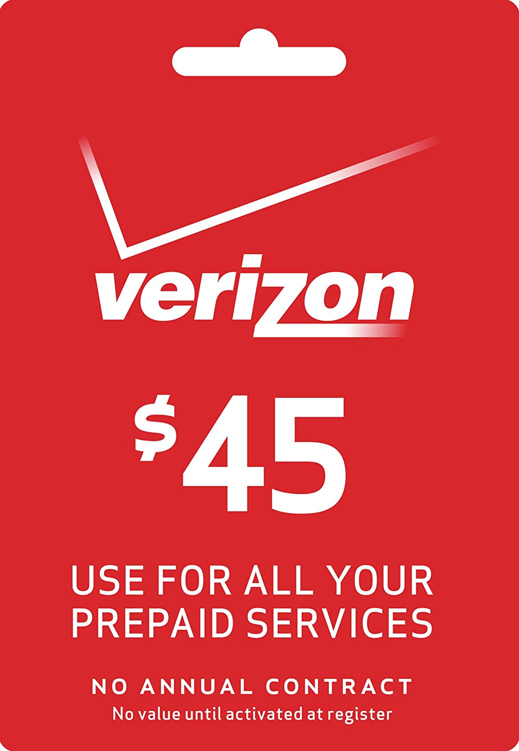 Amazon.com: Verizon $45 Prepaid Refill PIN Monthly Plan / Pay As You Go No  Annual Contract: Cell Phones & Accessories