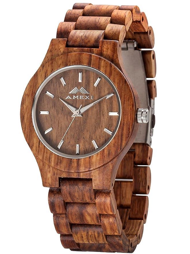 7 opinioni per AMEXI orologi di legno di sandalo uomo noce orologi al quarzo guarda gli uomini