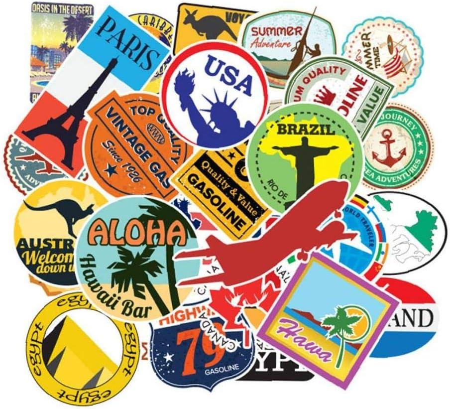 Viajes 100pcs Mapa País Del Pvc De Los Niños Pegatinas Juguetes Decoración Maleta Monopatín Guitarra De Coches