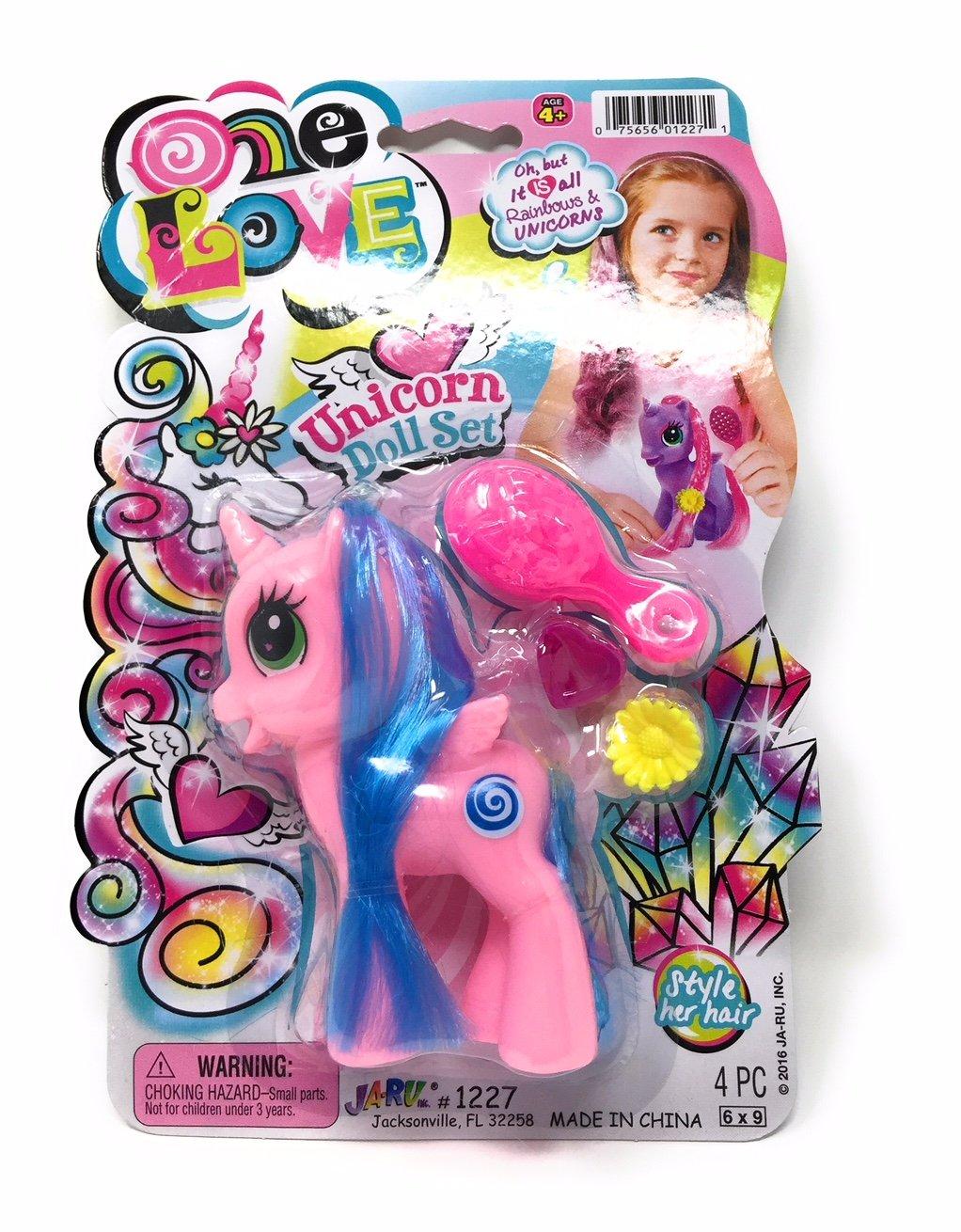 Unicorn Doll with Hair Accessories Pink JaRu