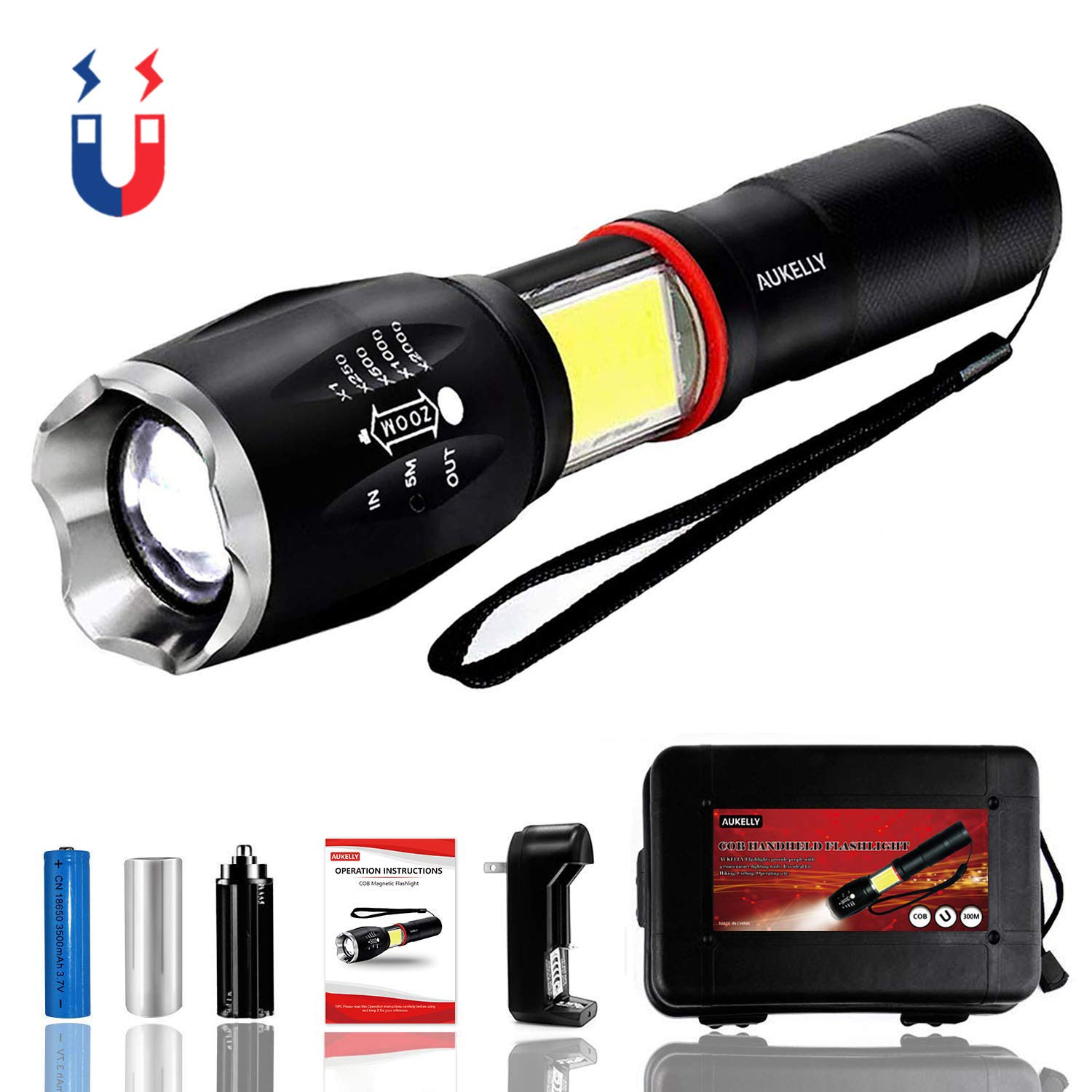 Aukelly Flashlight Rechargeable LED Flashlights High Lumens,Tactical COB Flashlight,Zoomable,6 Modes,Handheld USB Flashlight Altra Bright Handheld Flashlight For Camping,Emergency,with 18650 Battery