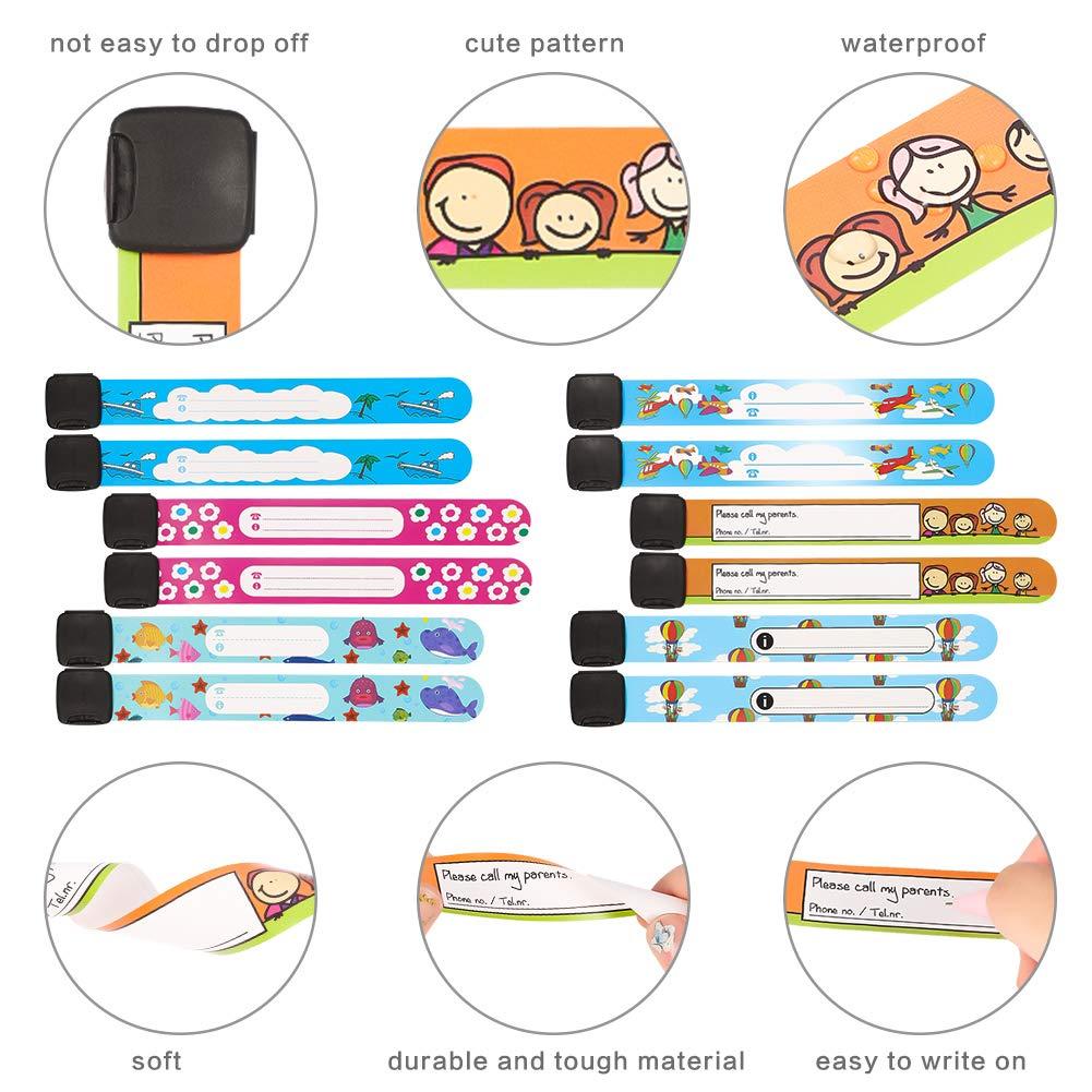 Girlslove talk 12PCS 12cm Child Safety Wristband Waterproof Children Safety ID Wristband for Emergency