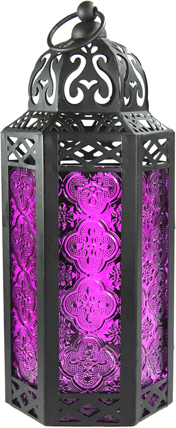 Vela Lanterns Moroccan Style Candle Lantern, Medium, Purple Glass: Home & Kitchen