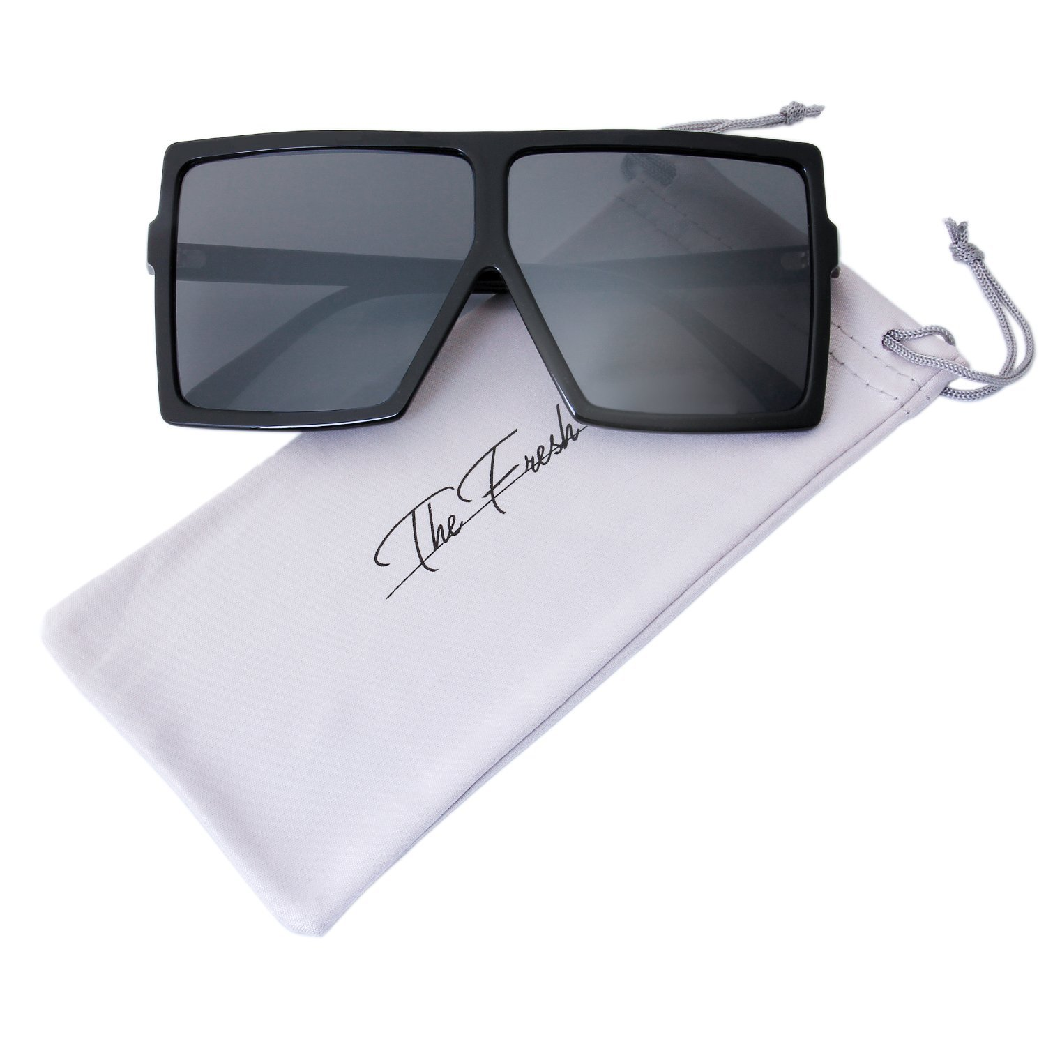 The Fresh Large Oversized Fashion Square Flat Top Sunglasses with Gift Box (1-Black, Grey)